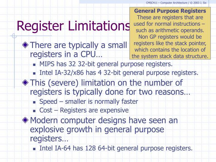 Register Limitations