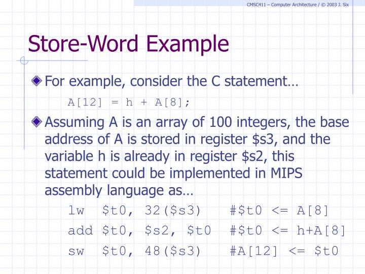 Store-Word Example