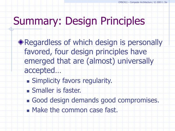 Summary: Design Principles