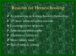 reasons for homeschooling