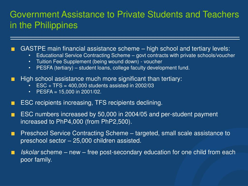 Government Assistance to Private Students and Teachers in the Philippines