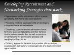 developing recruitment and networking strategies that work