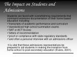 the impact on students and admissions