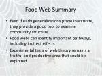 food web summary