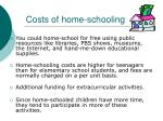 costs of home schooling