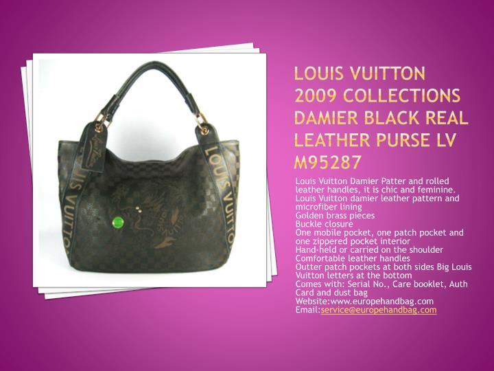 Louis vuitton 2009 collections damier black real leather purse lv m95287