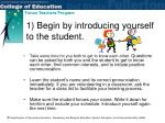 1 begin by introducing yourself to the student