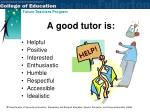 a good tutor is