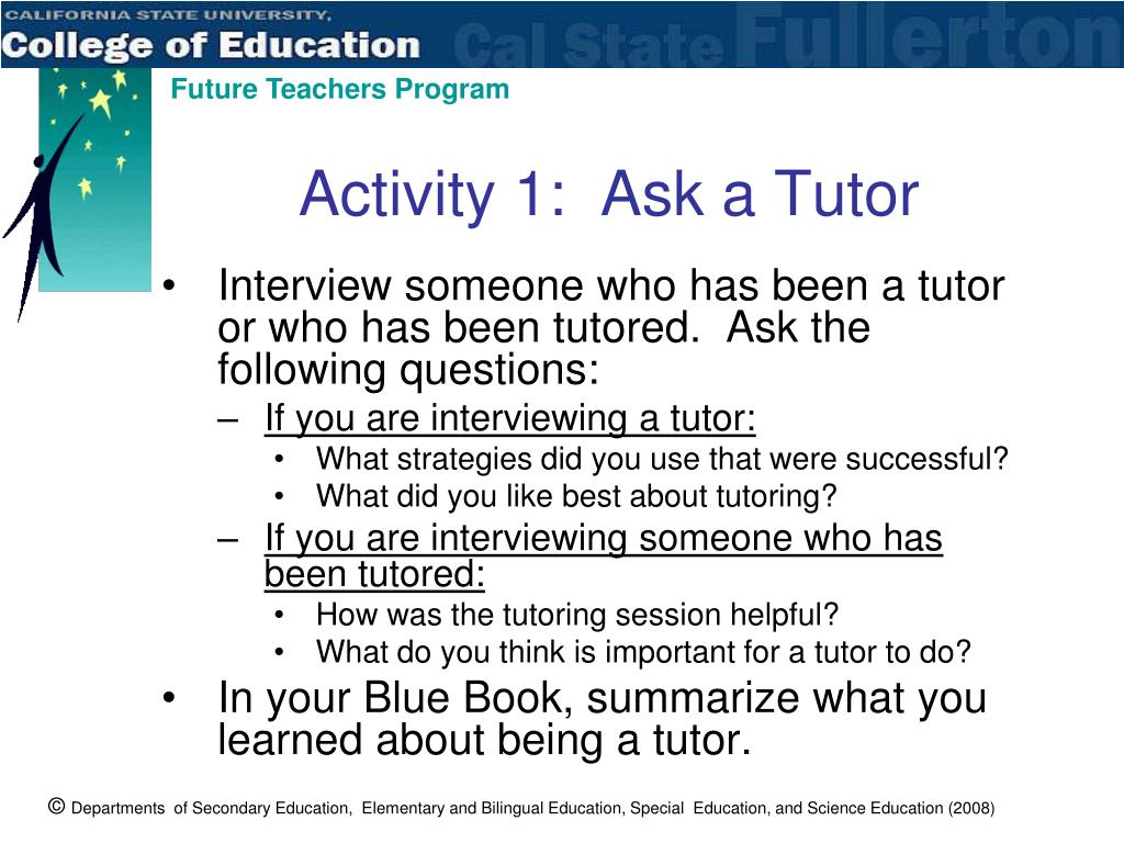 Activity 1:  Ask a Tutor
