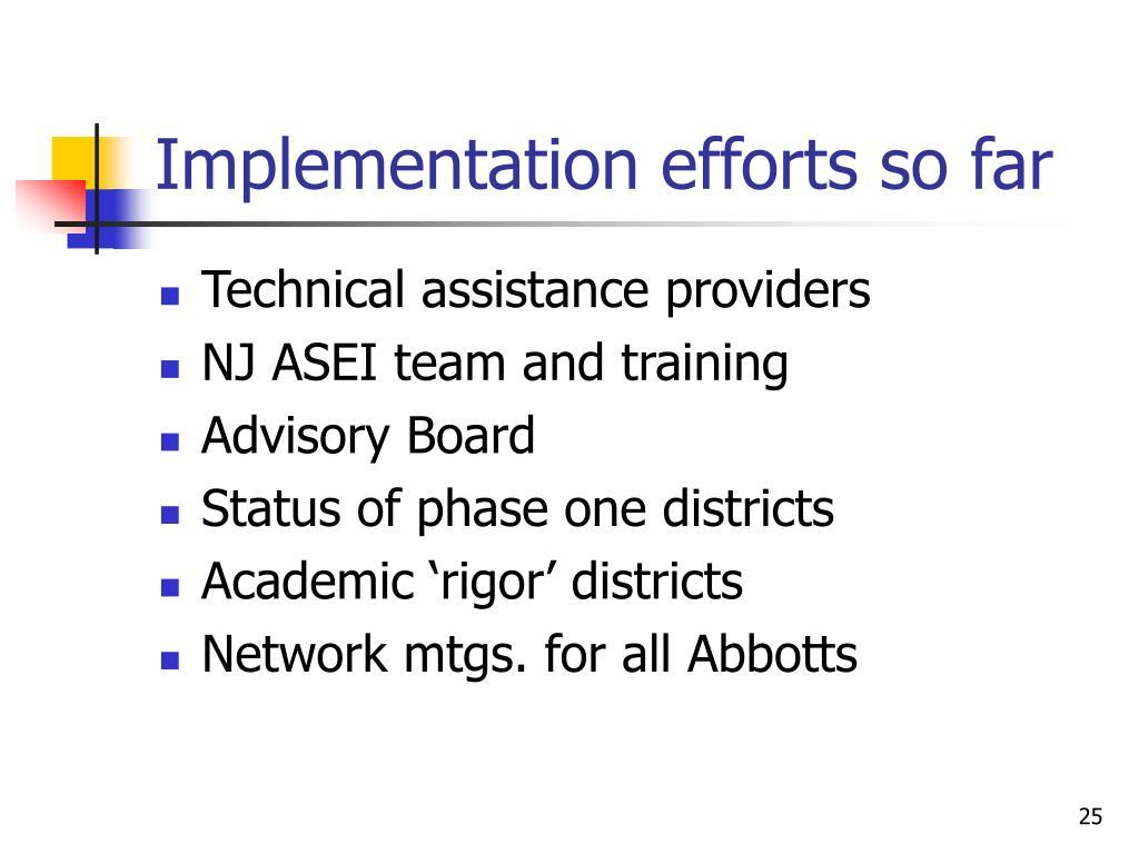 Implementation efforts so far