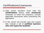 certifications licensures