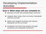 developing implementation activities46