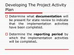 developing the project activity plan40