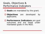 goals objectives performance indicators
