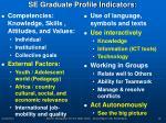 se graduate profile indicators