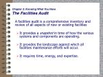 chapter 3 knowing what you have the facilities audit