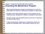 chapter 7 evaluating facilities maintenance efforts evaluating the maintenance program
