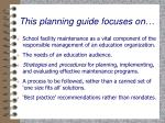 this planning guide focuses on