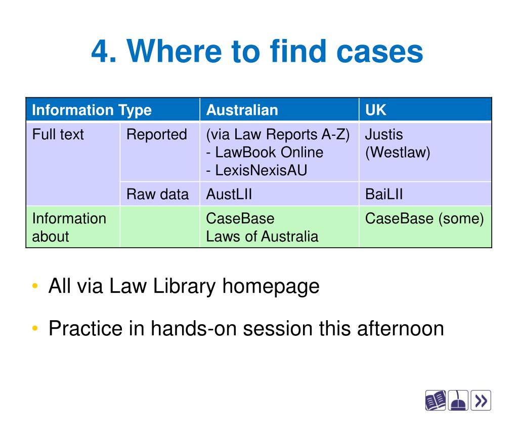 4. Where to find cases