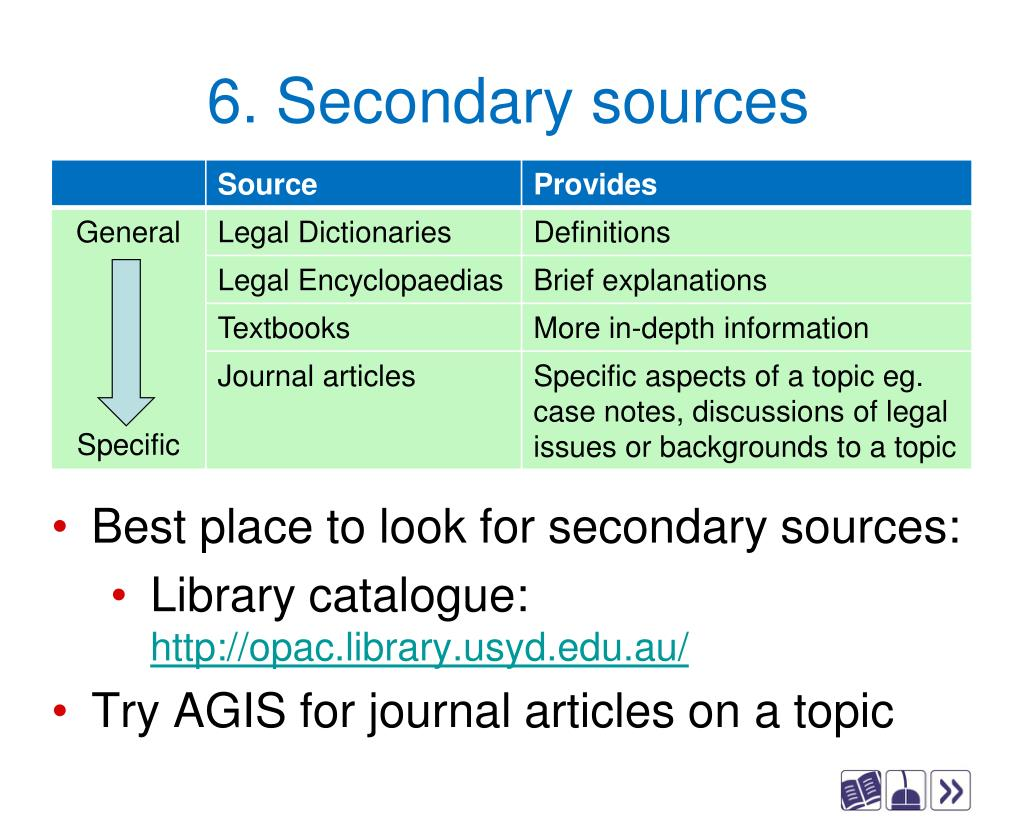 6. Secondary sources