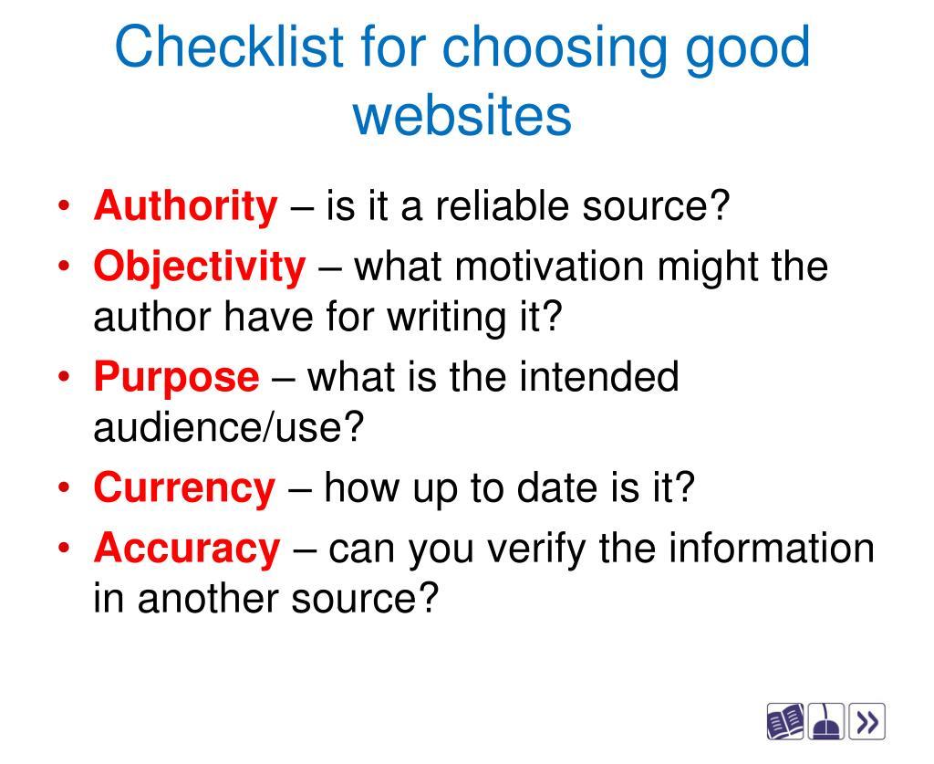 Checklist for choosing good websites