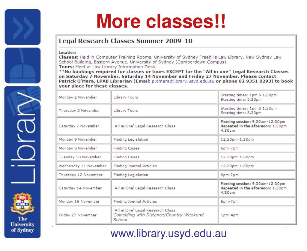 More classes!!