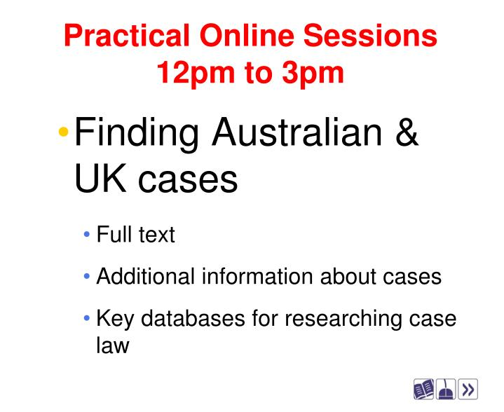 Practical online sessions 12pm to 3pm