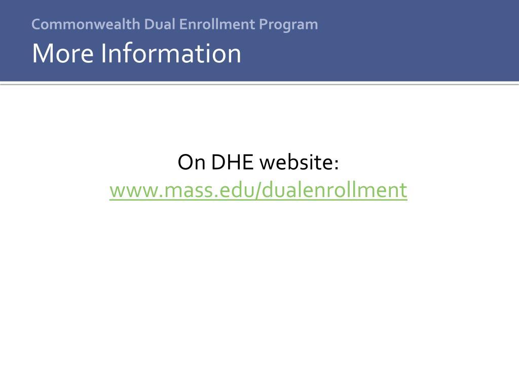 Commonwealth Dual Enrollment Program