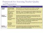 framework for assessing teacher quality and preparation