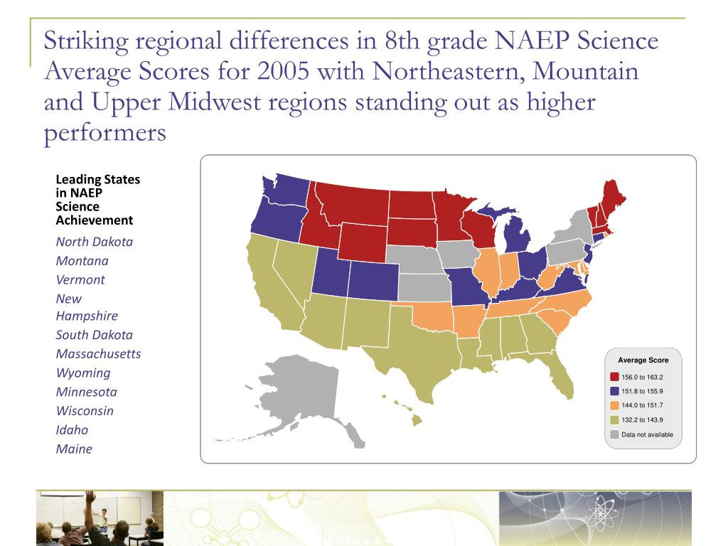 Striking regional differences in 8th grade NAEP Science Average Scores for 2005 with Northeastern, Mountain and Upper Midwest regions standing out as higher performers