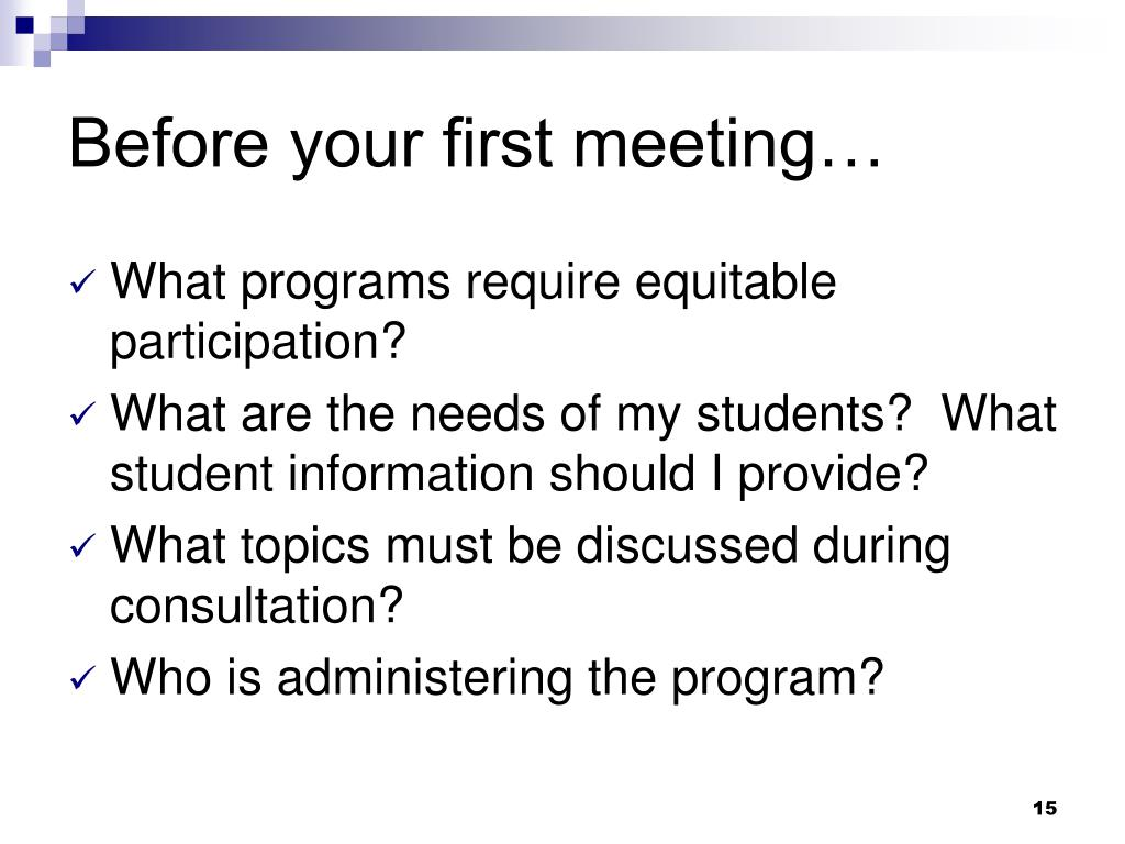 Before your first meeting…