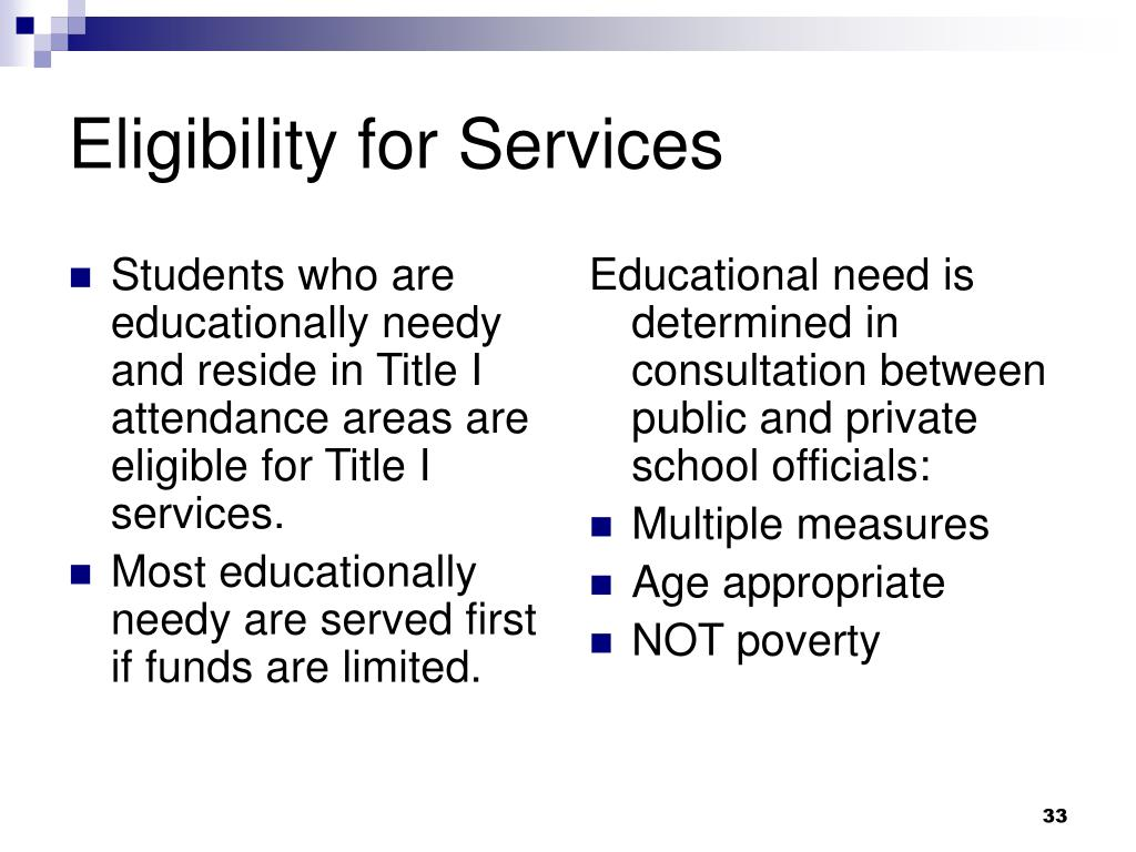 Students who are educationally needy and reside in Title I attendance areas are eligible for Title I services.