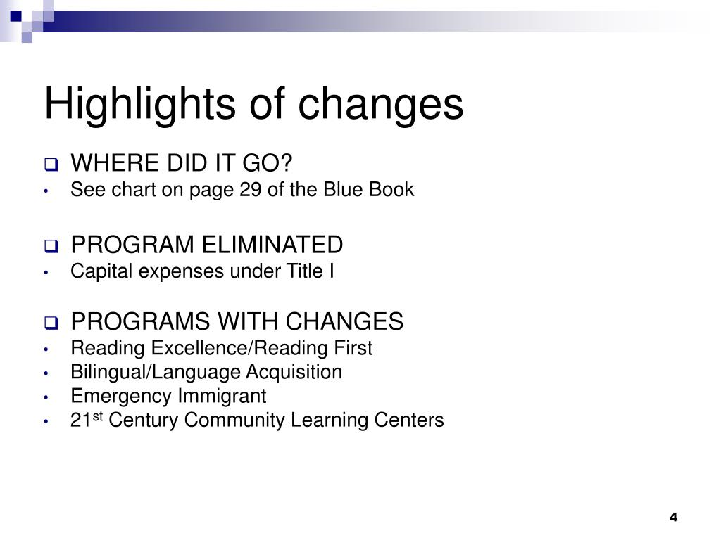 Highlights of changes
