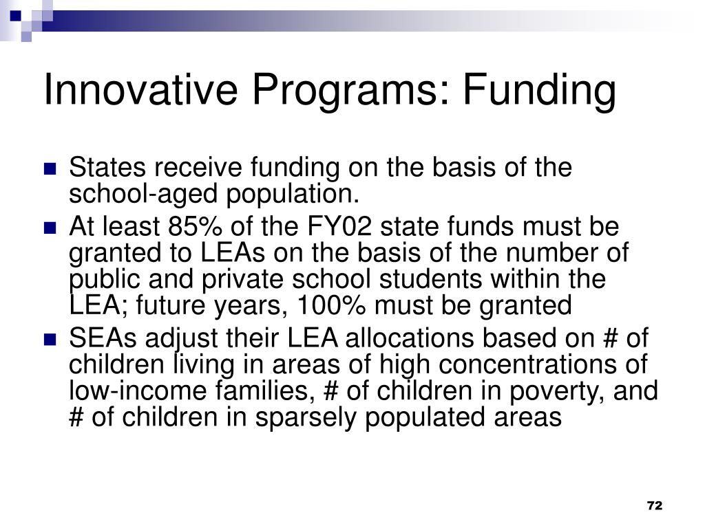 Innovative Programs: Funding