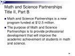 math and science partnerships title ii part b