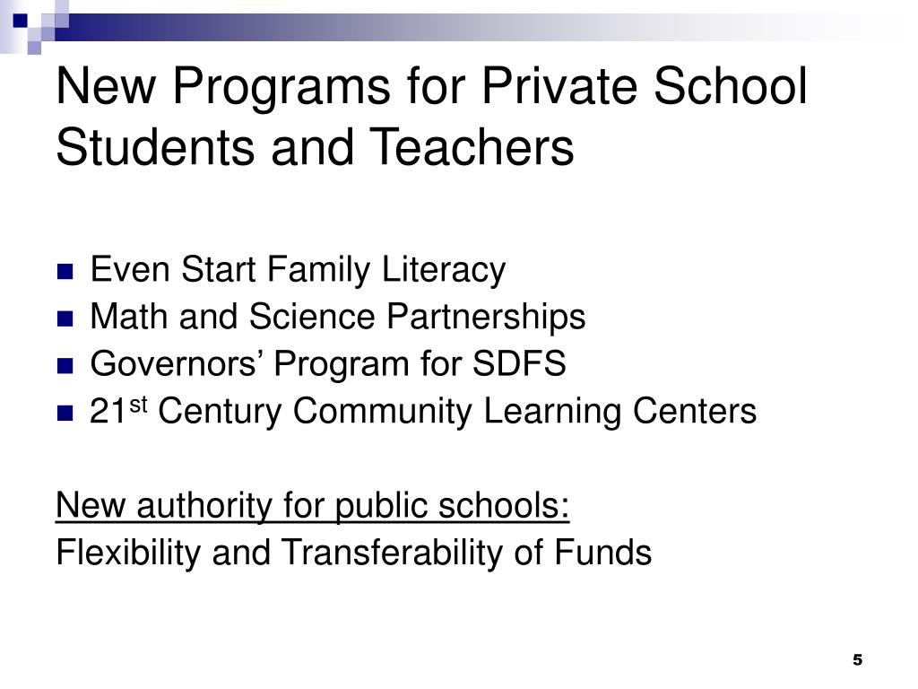 New Programs for Private School Students and Teachers