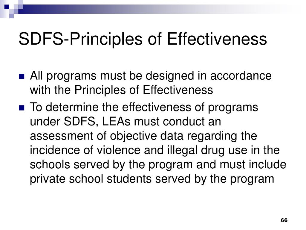SDFS-Principles of Effectiveness