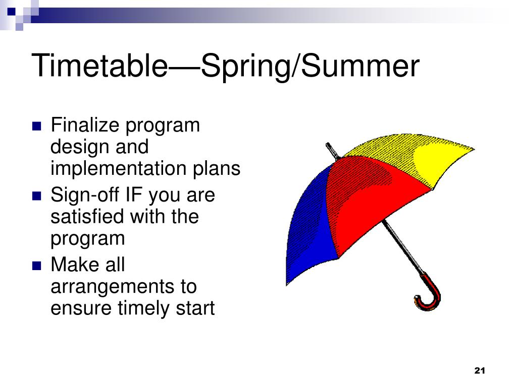 Timetable—Spring/Summer
