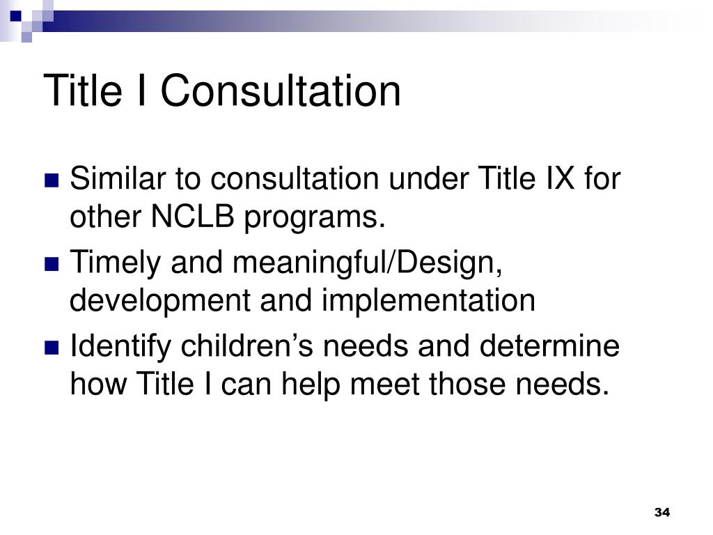 Title I Consultation
