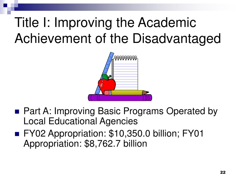 Title I: Improving the Academic Achievement of the Disadvantaged