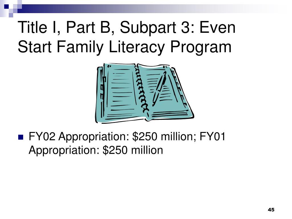 Title I, Part B, Subpart 3: Even Start Family Literacy Program