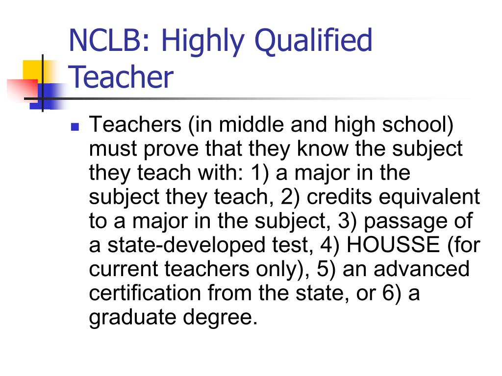 NCLB: Highly Qualified Teacher