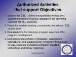 authorized activities that support objectives