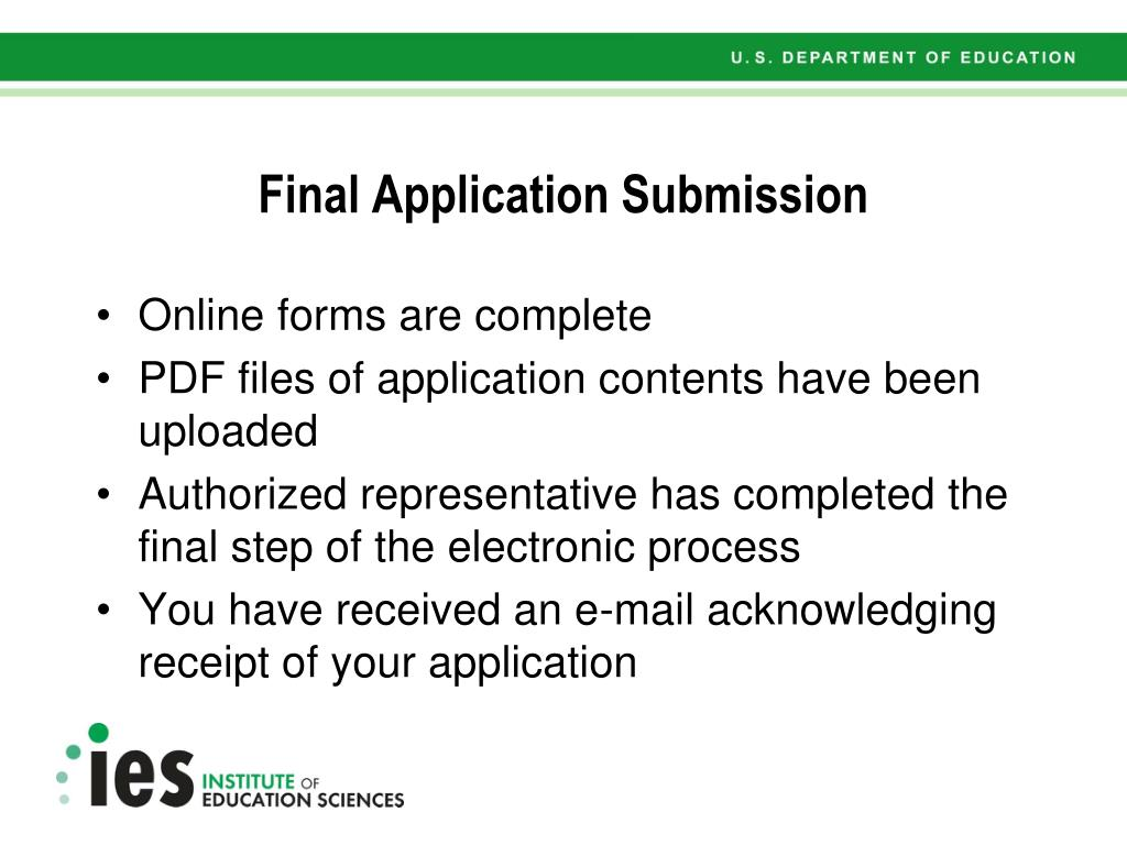 Final Application Submission