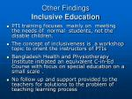 other findings inclusive education