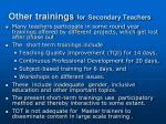other trainings for secondary teachers