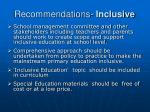 recommendations inclusive