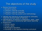 the objectives of the study