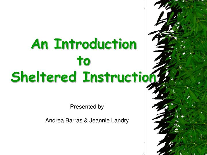 an introduction to sheltered instruction n.