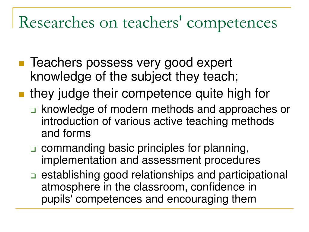 Researches on teachers' competences